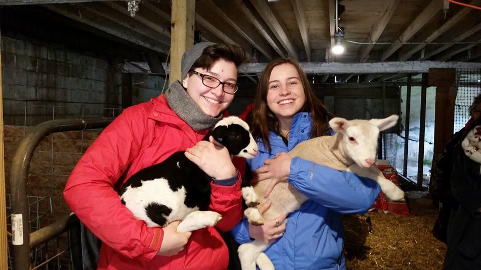 UZS members hold goats
